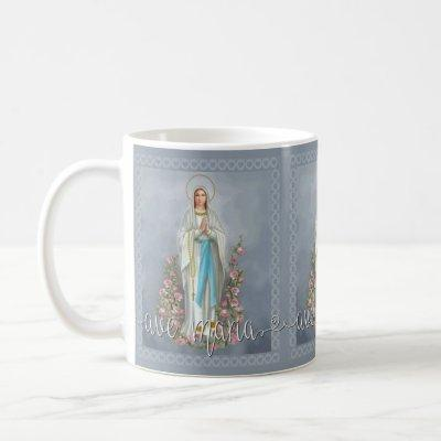 Our Lady of Lourdes Ave Maria Virgin Mary  Script Coffee Mug