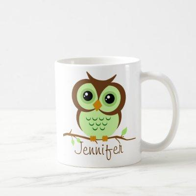 Owly Green Personalized Coffee Mug