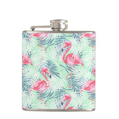 Palm leaves and flamingos flask