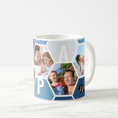 Papa 5 Photo Editable 4 Letter Bee and Honeycomb Coffee Mug
