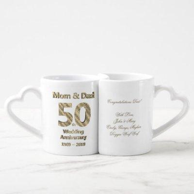 Parents Golden Wedding 50th Anniversary 2019 Coffee Mug Set