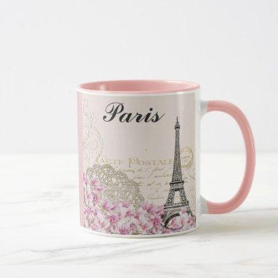 Paris Eiffel Tower France Vintage Pink Flowers Mug