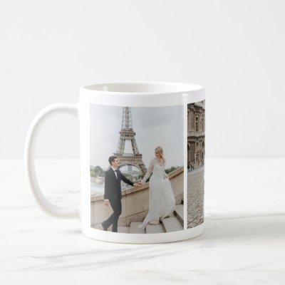 Paris Eiffel Tower Honeymoon Photo Collage Mug