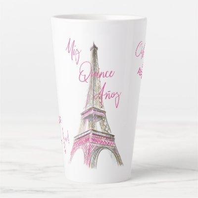 Paris Eiffel Tower Personalized Mis Quince Anos Latte Mug
