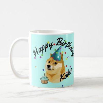 Party on! Personalized Birthday Doge Birthday  Coffee Mug