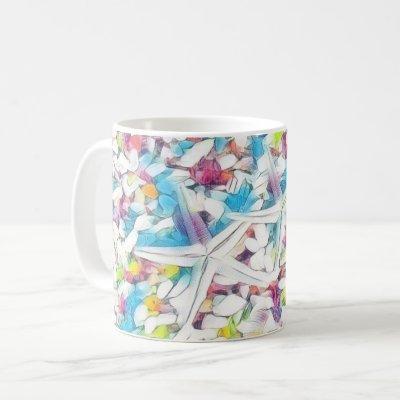 Pastel Colorful Watercolor Starfish and shells Coffee Mug