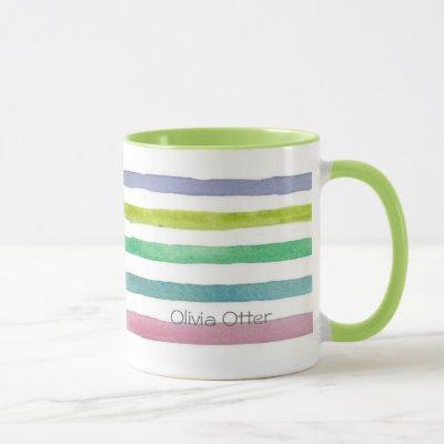 Pastel Horizontal Watercolor Stripes Custom Name Mug