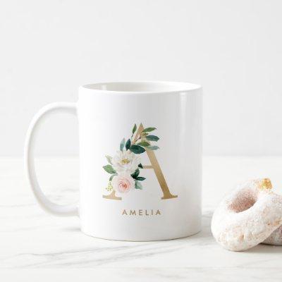 Pastel Peony Floral Letter A Gold Foil Monogram Coffee Mug