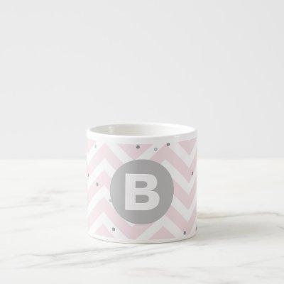 Pastel Pink Chevron and Dots Grey Monogram Espresso Cup