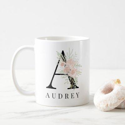Pastel pink green floral bold script monogram name coffee mug