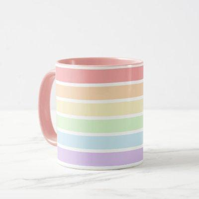Pastel Rainbow Stripes Combo Mug