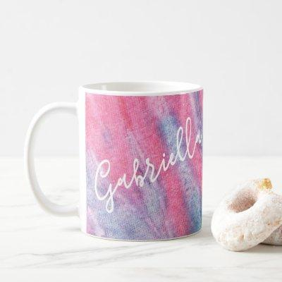 Pastel Rainbow Tie Dye Groovy Personalized Coffee Mug