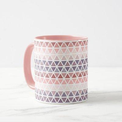 Pastel Violet Purple Pink Mauve Triangle Pattern Mug
