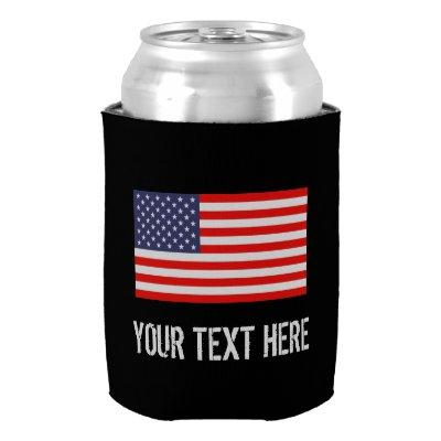 Patriotic American flag can cooler | Personalize