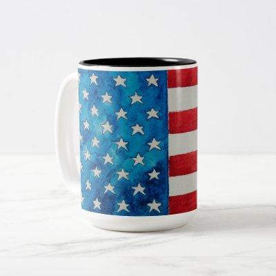 Patriotic American Flag Two-Tone Coffee Mug