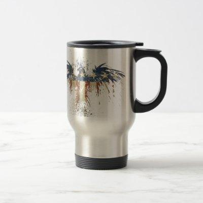 Patriotic eagle, US/USA, SAD flag Travel Mug