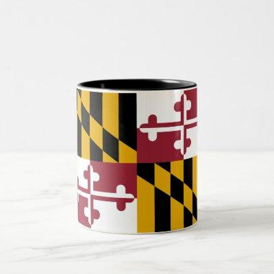 Patriotic Maryland State Flag Two-Tone Coffee Mug
