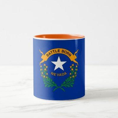 Patriotic Nevada State Flag Two-Tone Coffee Mug