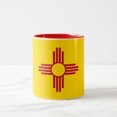 Patriotic New Mexico State Flag Two-Tone Coffee Mug
