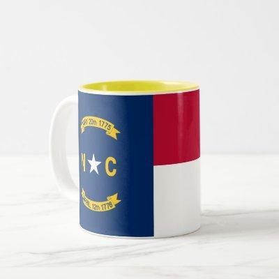 Patriotic North Carolina State Flag Two-Tone Coffee Mug