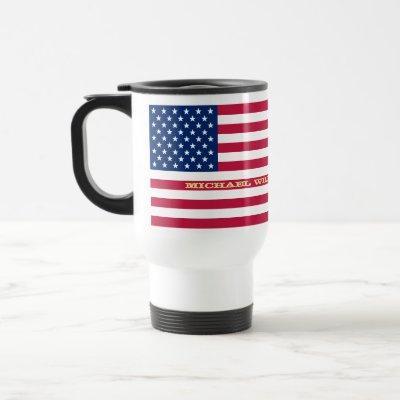 Patriotic USA American Flag Personalized Monogram Travel Mug