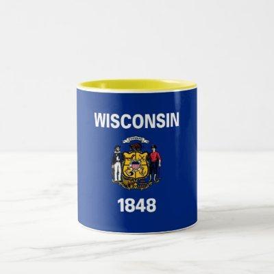 Patriotic Wisconsin State Flag Two-Tone Coffee Mug