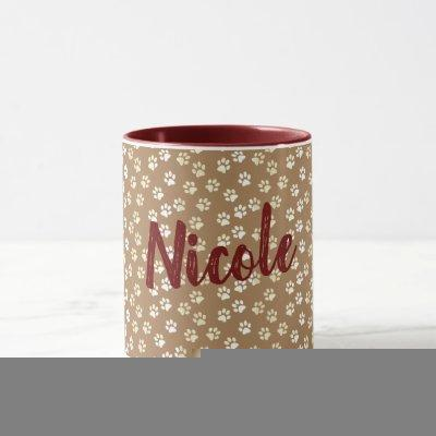 Paw Print Cream and Coffee Mug With Name