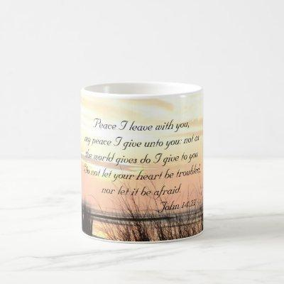 Peace I leave with you, Bible Verse Ocean Sunset Coffee Mug