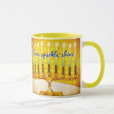 Peace Sparkle Shine, Yellow Hanukkah Menorah Photo Mug