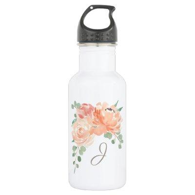 Peach Floral Bouquet with any Monogram Stainless Steel Water Bottle