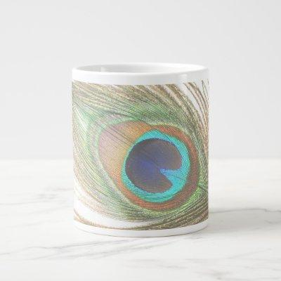 Peacock Feather Large Coffee Mug