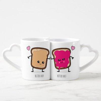 Peanut Butter and Jelly Couples Coffee Mug Set