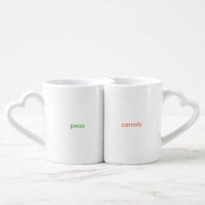 peas and carrots coffee mug set