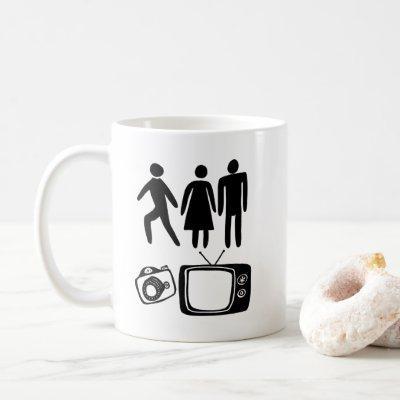 Person Woman Man Camera TV Coffee Mug