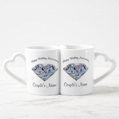Personalised 60 year Wedding Anniversary Gift Coffee Mug Set