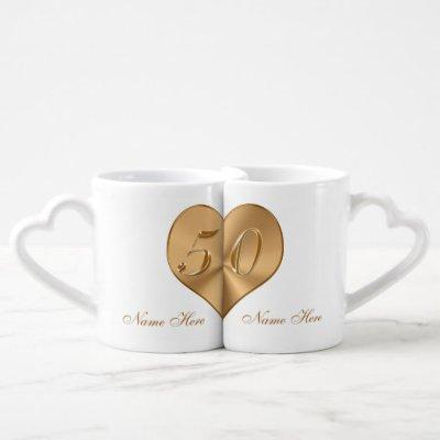 Personalised Golden Wedding Anniversary Gifts Coffee Mug Set