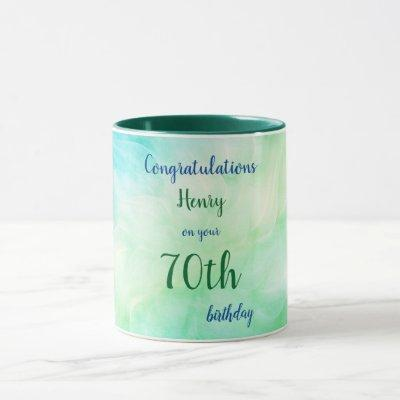 Personalised Happy 70th Birthday Mug