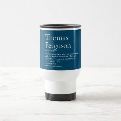 Personalised Name Definition Blue Travel Mug