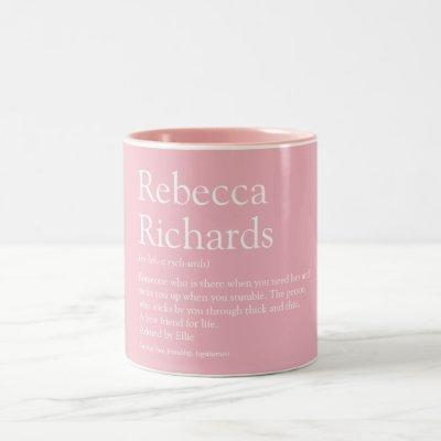 Personalised Name Definition Girly Pink Two-Tone Coffee Mug