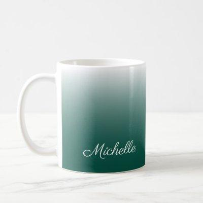 Personalised ombre gradient green coffee mug