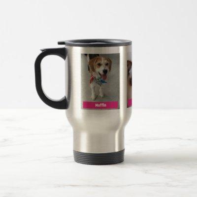 Personalize 3 Pet Photos & Names / Fuchsia Travel Mug