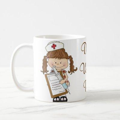 Personalize Brunette Nurse Gifts! Coffee Mug