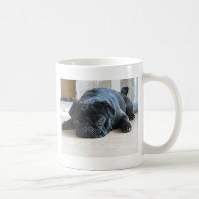 Personalize cute black Pug Puppy accessories name Coffee Mug