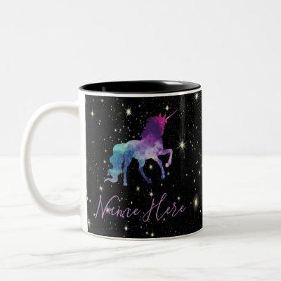 Personalize Your Own Colorful Universe Unicorn Two-Tone Coffee Mug