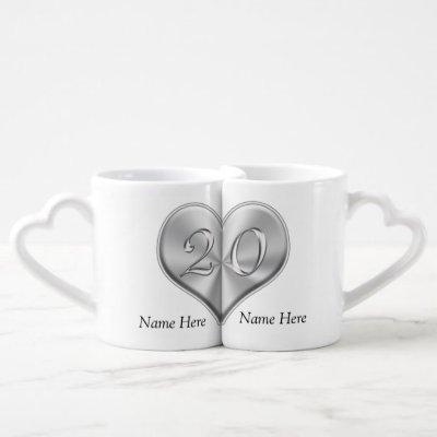Personalized 20 Year Anniversary Gift, Heart Mugs