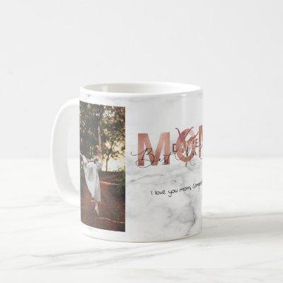Personalized 2 Photo Best Dance Mom Ever Rose Gold Coffee Mug