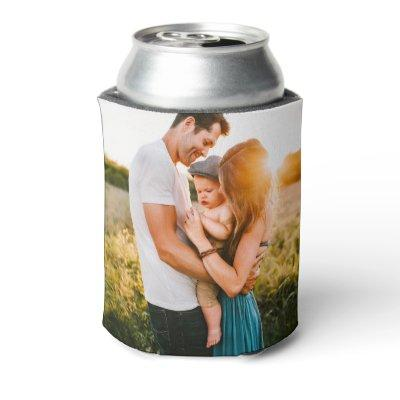 Personalized 2 Photo Template Double Sided Can Coo Can Cooler