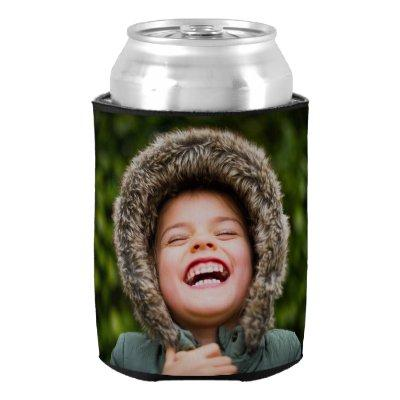 Personalized 2 Photo Template Double Sided Can Cooler