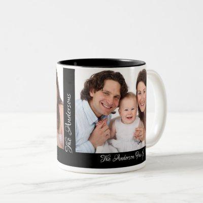 Personalized 2 Photos Add Your Name Custom Two-Tone Coffee Mug