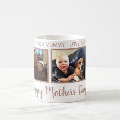 personalized 3 PHOTO ROSE GOLD mothers day mug